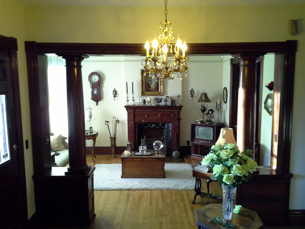 Parlor with Tuscan Pillars and Fireplace